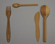 Cutlery made of cherry wood
